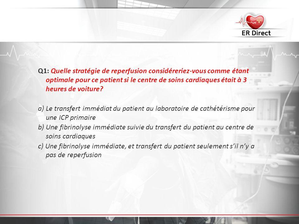 Q1: Quelle stratégie de reperfusion considéreriez-vous comme étant optimale pour ce patient si le centre de soins cardiaques était à 3 heures de voitu