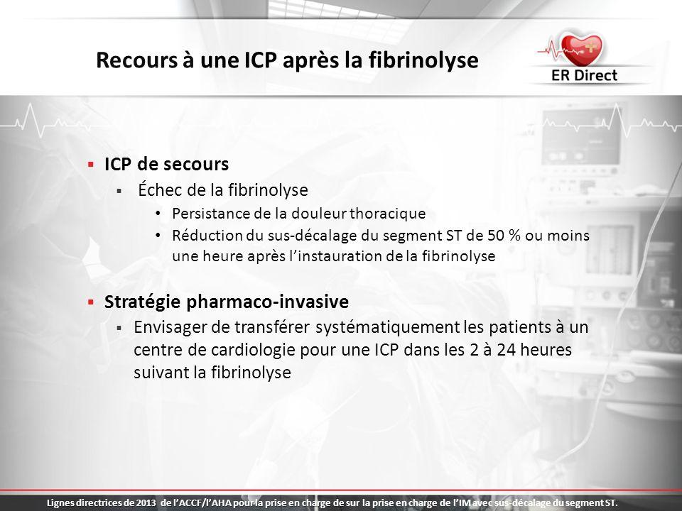 Recours à une ICP après la fibrinolyse ICP de secours Échec de la fibrinolyse Persistance de la douleur thoracique Réduction du sus-décalage du segmen