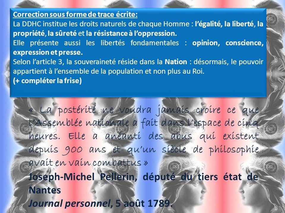 Correction sous forme de trace écrite: La DDHC institue les droits naturels de chaque Homme : légalité, la liberté, la propriété, la sûreté et la rési