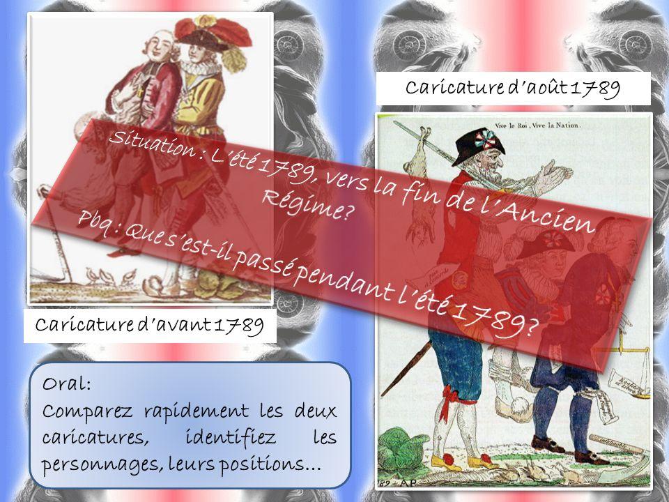 Caricature davant 1789 Caricature daoût 1789 Oral: Comparez rapidement les deux caricatures, identifiez les personnages, leurs positions…