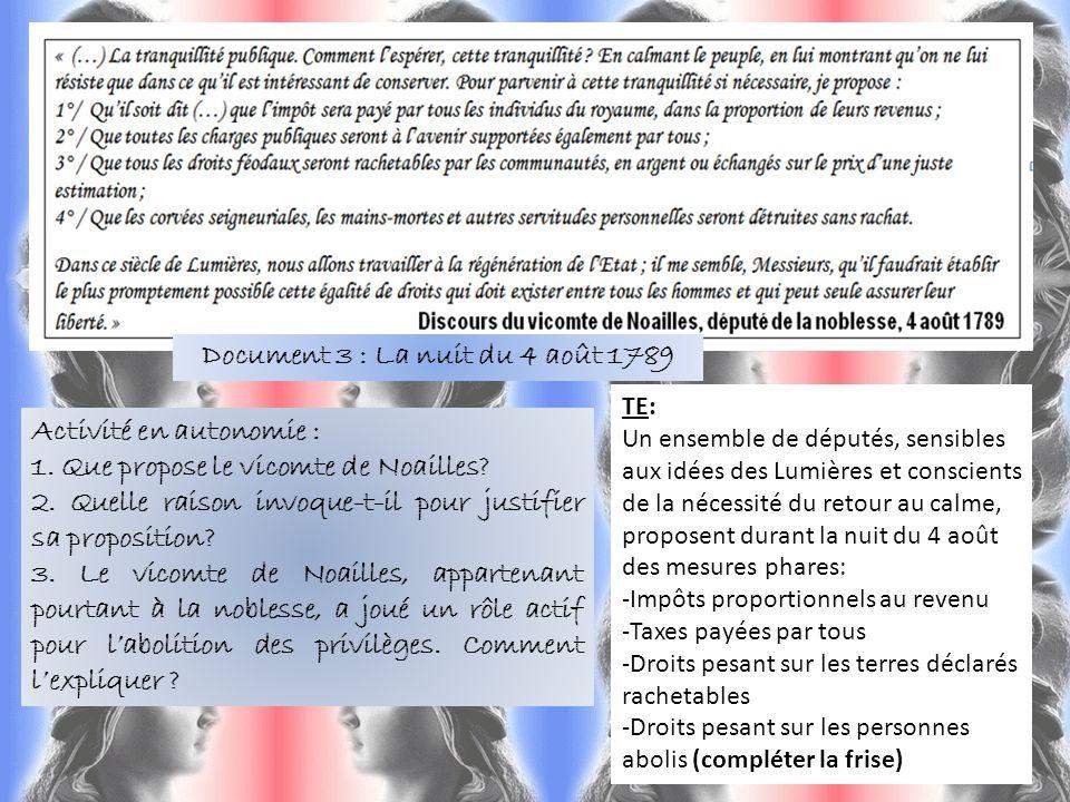 Document 3 : La nuit du 4 août 1789 Activité en autonomie : 1. Que propose le vicomte de Noailles? 2. Quelle raison invoque-t-il pour justifier sa pro