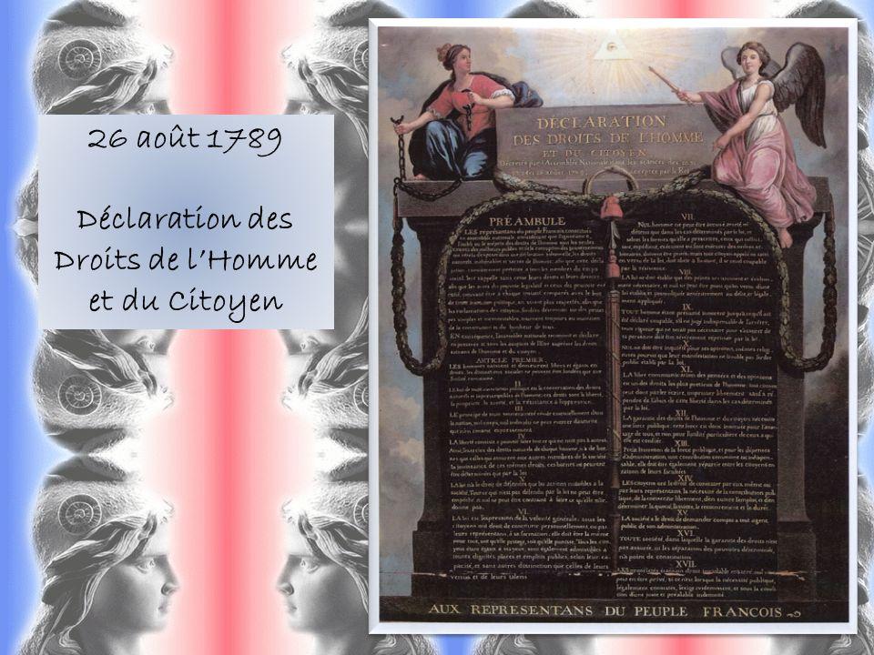 26 août 1789 Déclaration des Droits de lHomme et du Citoyen