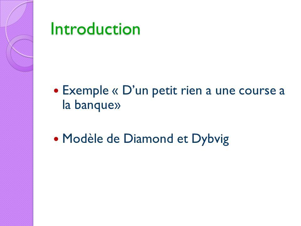 Introduction Exemple « Dun petit rien a une course a la banque» Modèle de Diamond et Dybvig