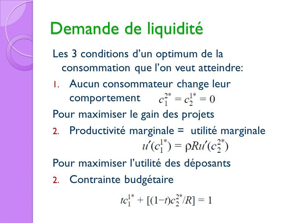 Demande de liquidité Les 3 conditions dun optimum de la consommation que lon veut atteindre: 1. Aucun consommateur change leur comportement Pour maxim