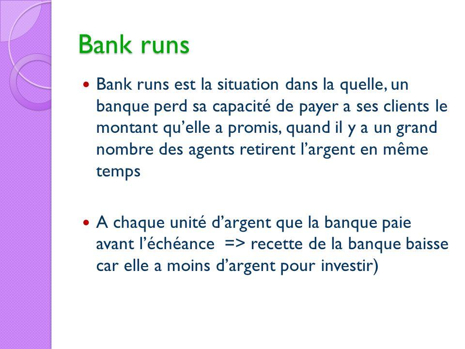 Bank runs Bank runs est la situation dans la quelle, un banque perd sa capacité de payer a ses clients le montant quelle a promis, quand il y a un gra