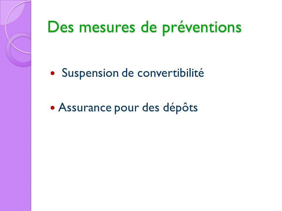 Des mesures de préventions Suspension de convertibilité Assurance pour des dépôts