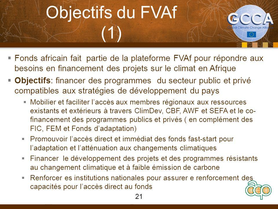 Objectifs du FVAf (1) Fonds africain fait partie de la plateforme FVAf pour répondre aux besoins en financement des projets sur le climat en Afrique Objectifs: financer des programmes du secteur public et privé compatibles aux stratégies de développement du pays Mobilier et faciliter laccès aux membres régionaux aux ressources existants et extérieurs à travers ClimDev, CBF, AWF et SEFA et le co- financement des programmes publics et privés ( en complément des FIC, FEM et Fonds dadaptation) Promouvoir laccès direct et immédiat des fonds fast-start pour ladaptation et latténuation aux changements climatiques Financer le développement des projets et des programmes résistants au changement climatique et à faible émission de carbone Renforcer es institutions nationales pour assurer e renforcement des capacités pour laccès direct au fonds 21