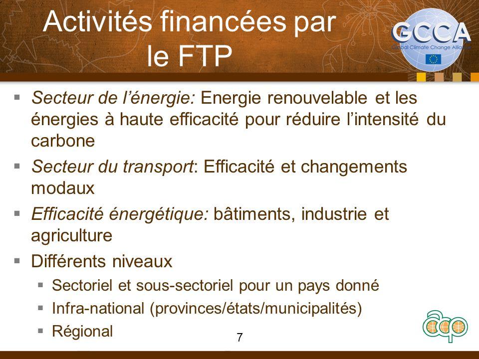 Activités financées par le FTP Secteur de lénergie: Energie renouvelable et les énergies à haute efficacité pour réduire lintensité du carbone Secteur du transport: Efficacité et changements modaux Efficacité énergétique: bâtiments, industrie et agriculture Différents niveaux Sectoriel et sous-sectoriel pour un pays donné Infra-national (provinces/états/municipalités) Régional 7