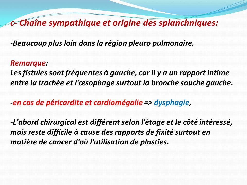 c- Chaîne sympathique et origine des splanchniques: -Beaucoup plus loin dans la région pleuro pulmonaire. Remarque: Les fistules sont fréquentes à gau