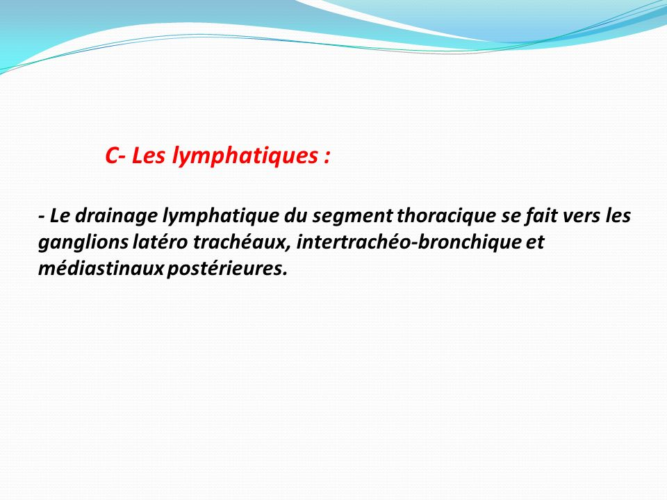 C- Les lymphatiques : - Le drainage lymphatique du segment thoracique se fait vers les ganglions latéro trachéaux, intertrachéo-bronchique et médiasti