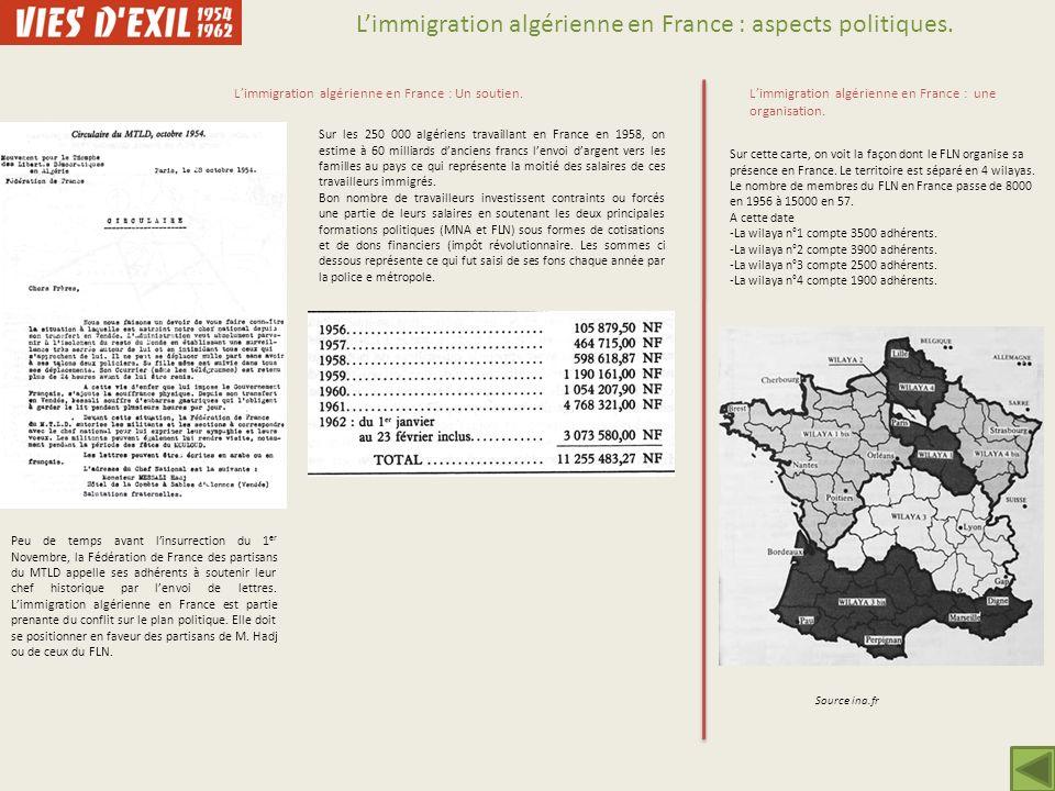 Limmigration algérienne en France : aspects politiques. Peu de temps avant linsurrection du 1 er Novembre, la Fédération de France des partisans du MT