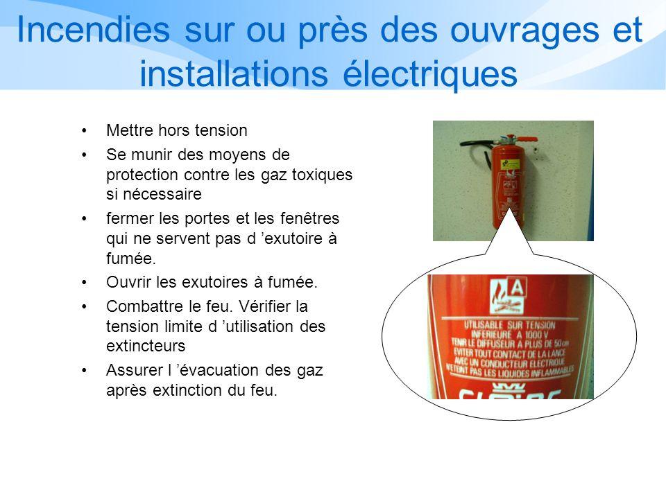 Utilisation des extincteurs Vérifier la tension d utilisation maximum de l extincteur.