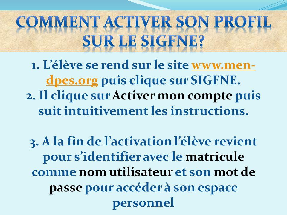 1. Lélève se rend sur le site www.men- dpes.org puis clique sur SIGFNE.www.men- dpes.org 2. Il clique sur Activer mon compte puis suit intuitivement l