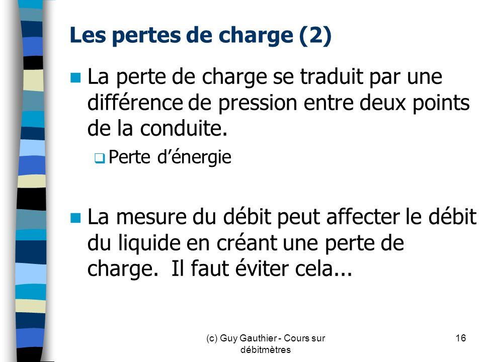 Les pertes de charge (2) La perte de charge se traduit par une différence de pression entre deux points de la conduite. Perte dénergie La mesure du dé