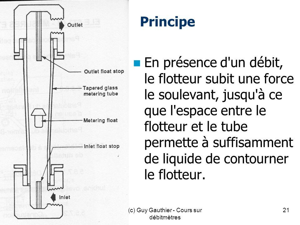 Principe En présence d'un débit, le flotteur subit une force le soulevant, jusqu'à ce que l'espace entre le flotteur et le tube permette à suffisammen