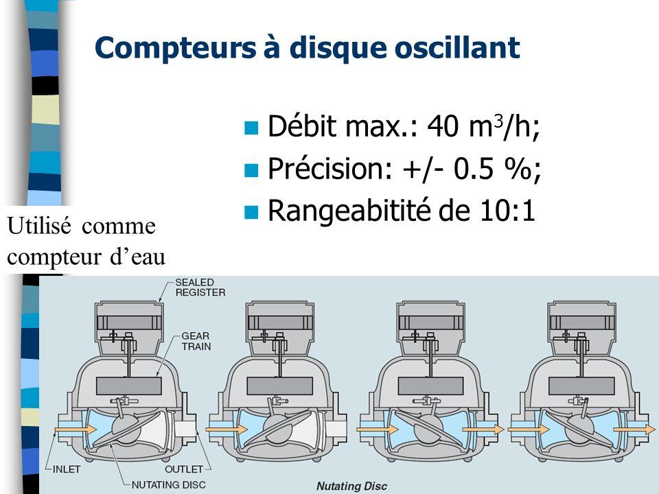 Compteurs à disque oscillant Débit max.: 40 m 3 /h; Précision: +/- 0.5 %; Rangeabitité de 10:1 Utilisé comme compteur deau 31(c) Guy Gauthier - Cours