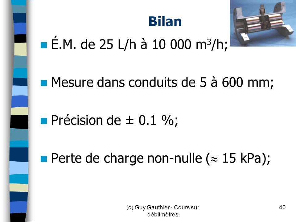Bilan É.M. de 25 L/h à 10 000 m 3 /h; Mesure dans conduits de 5 à 600 mm; Précision de ± 0.1 %; Perte de charge non-nulle ( 15 kPa); 40(c) Guy Gauthie