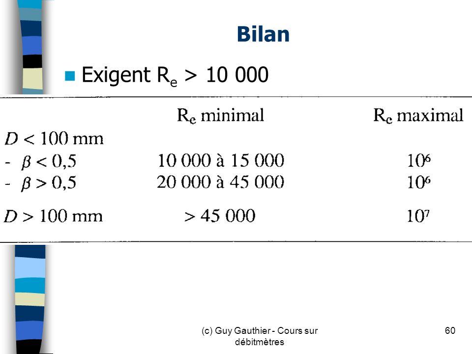 Bilan Exigent R e > 10 000 60(c) Guy Gauthier - Cours sur débitmètres
