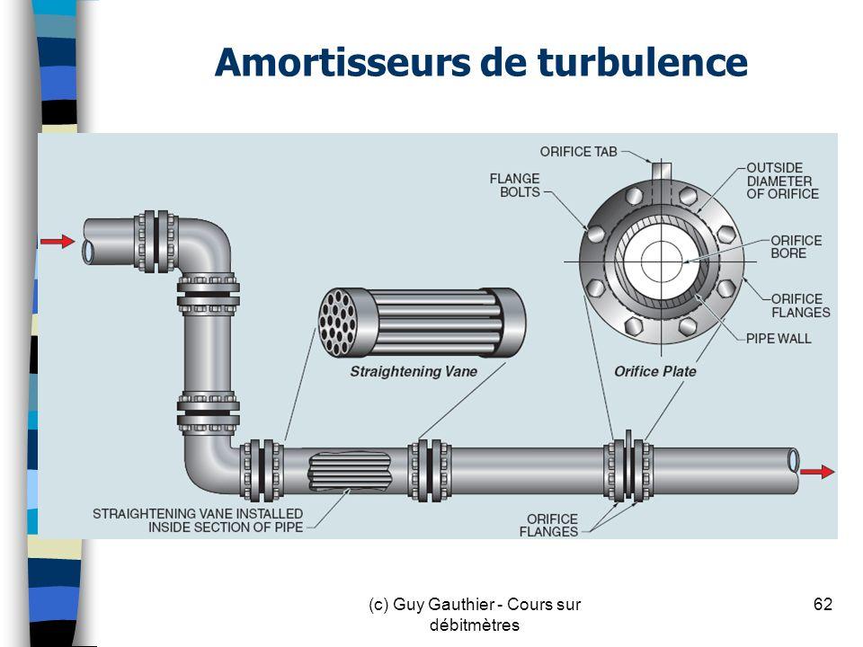 Amortisseurs de turbulence 62(c) Guy Gauthier - Cours sur débitmètres