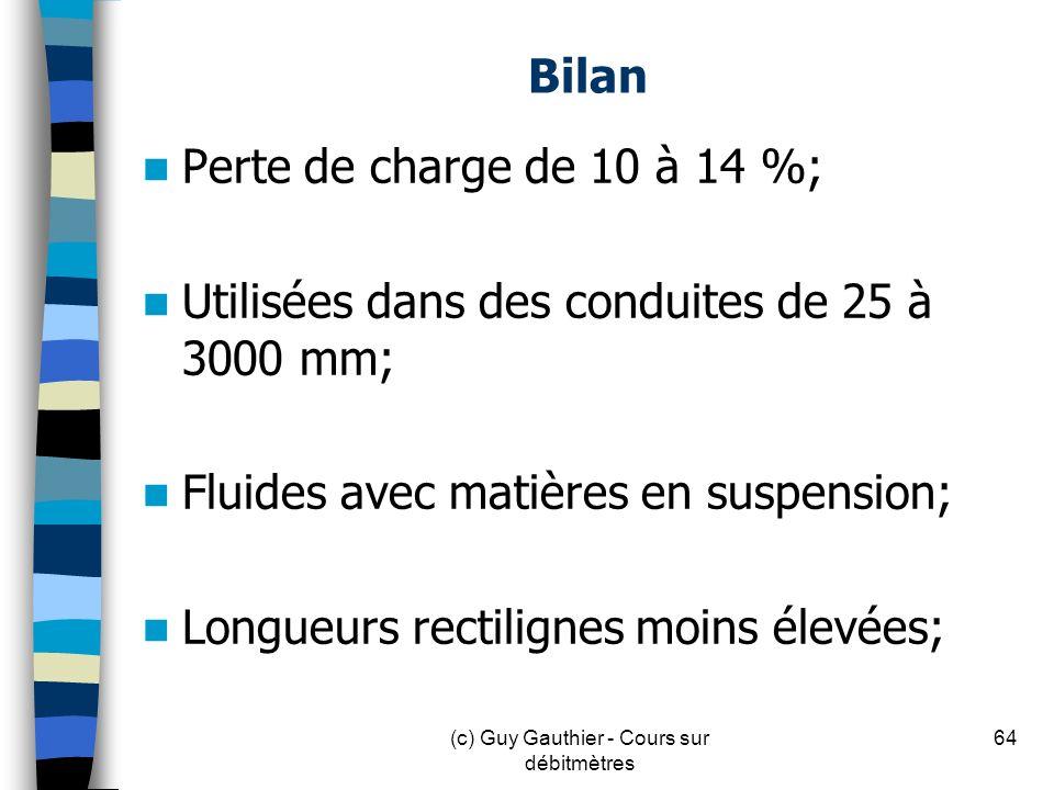 Bilan Perte de charge de 10 à 14 %; Utilisées dans des conduites de 25 à 3000 mm; Fluides avec matières en suspension; Longueurs rectilignes moins éle