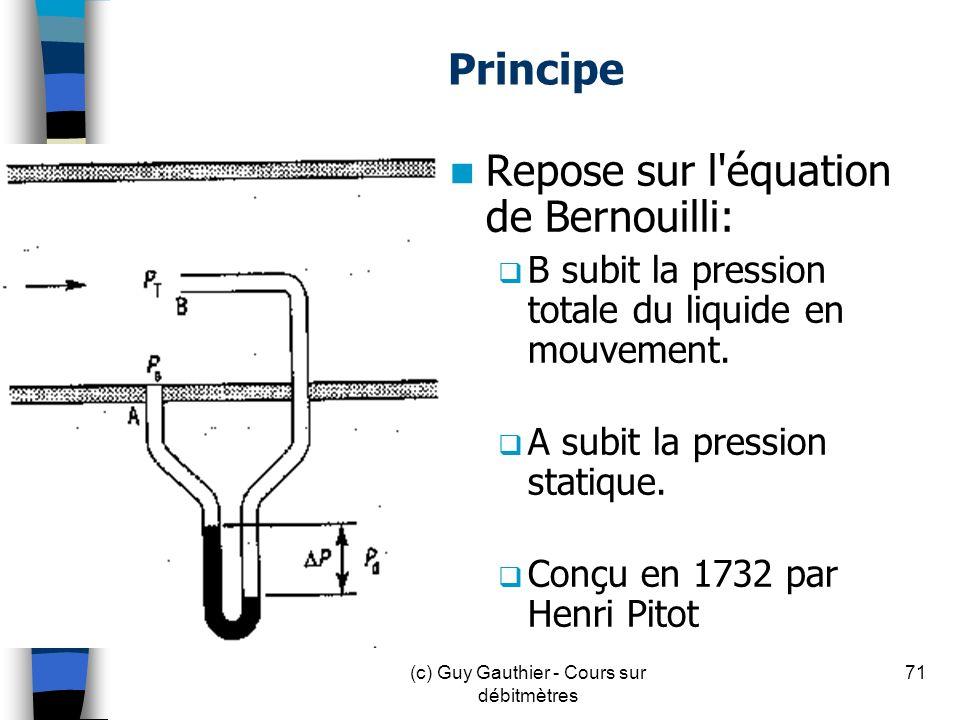 Principe Repose sur l'équation de Bernouilli: B subit la pression totale du liquide en mouvement. A subit la pression statique. Conçu en 1732 par Henr