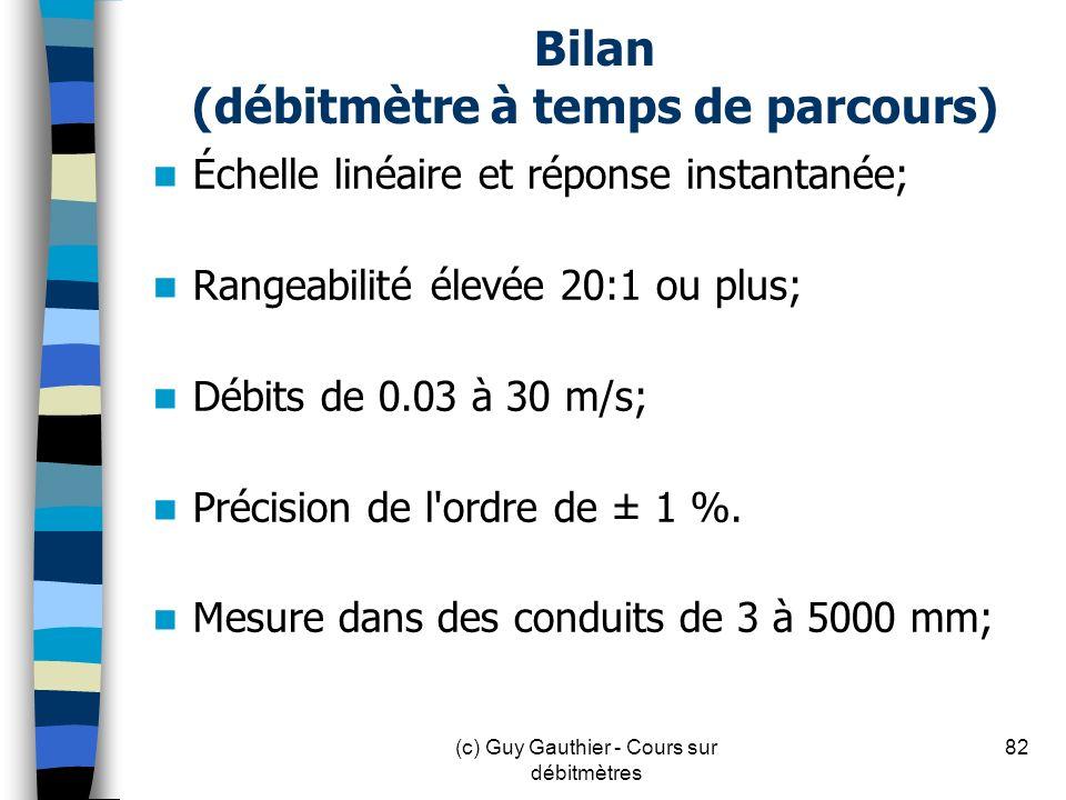 Bilan (débitmètre à temps de parcours) Échelle linéaire et réponse instantanée; Rangeabilité élevée 20:1 ou plus; Débits de 0.03 à 30 m/s; Précision d