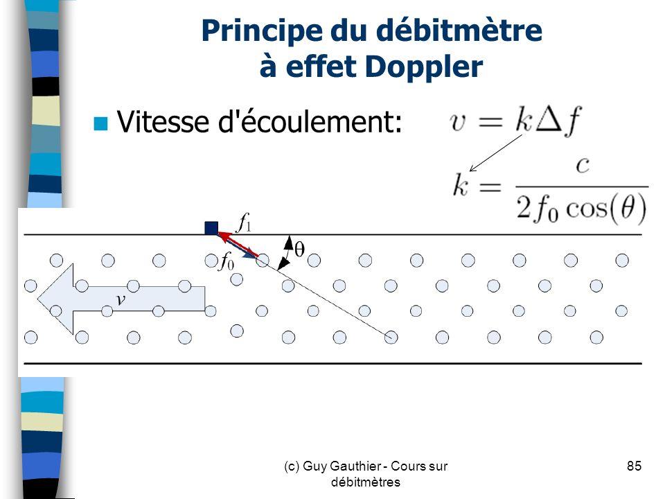 Principe du débitmètre à effet Doppler Vitesse d'écoulement: 85(c) Guy Gauthier - Cours sur débitmètres