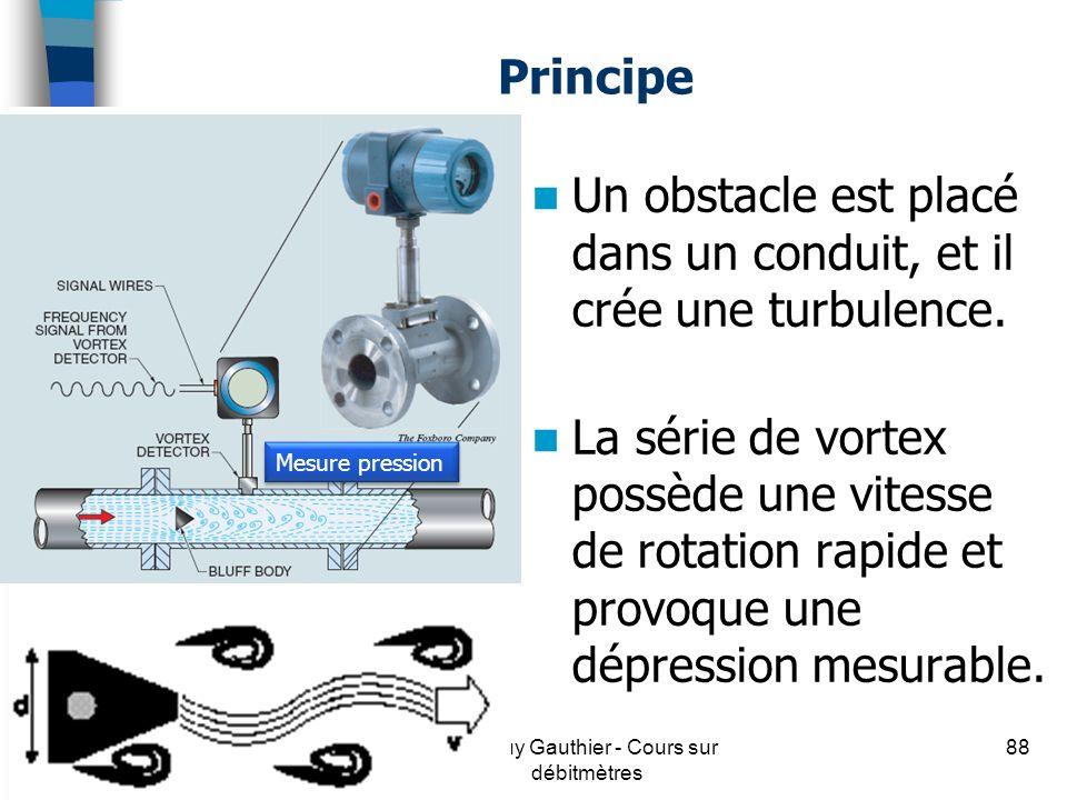 Principe Un obstacle est placé dans un conduit, et il crée une turbulence. La série de vortex possède une vitesse de rotation rapide et provoque une d