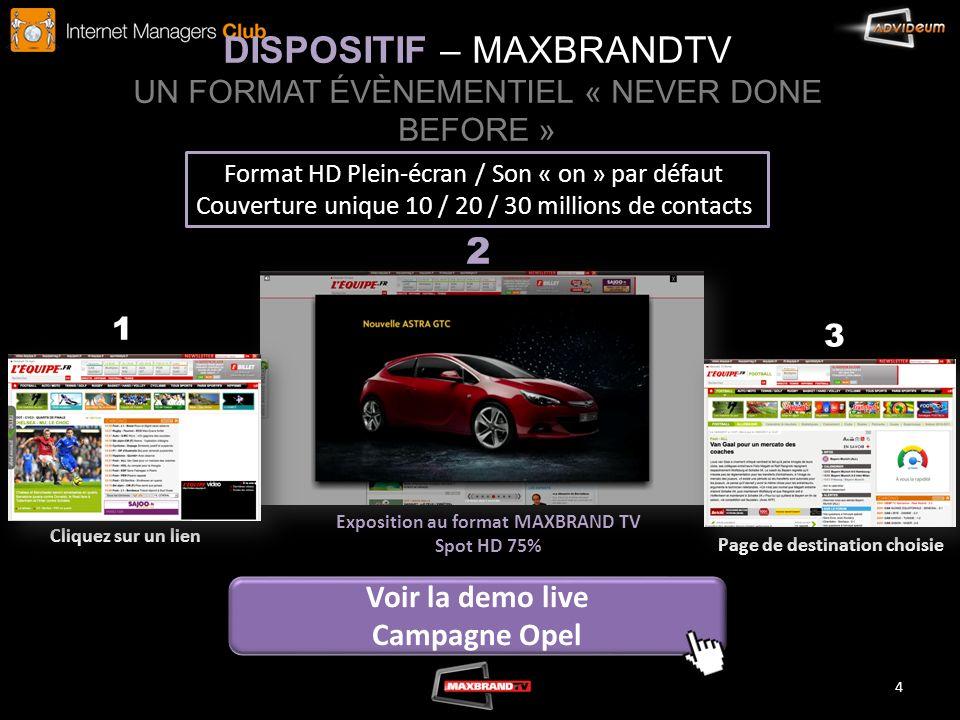 DISPOSITIF – MAXBRANDTV UN FORMAT ÉVÈNEMENTIEL « NEVER DONE BEFORE » 4 Cliquez sur un lien Exposition au format MAXBRAND TV Spot HD 75% Page de destin