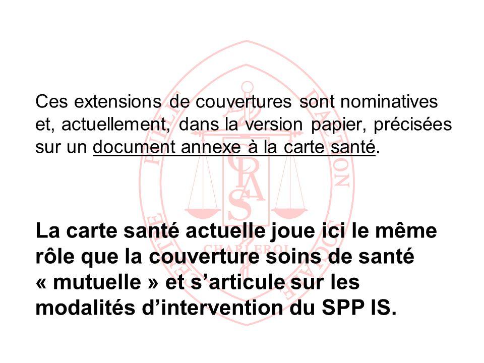 Ces extensions de couvertures sont nominatives et, actuellement, dans la version papier, précisées sur un document annexe à la carte santé. La carte s