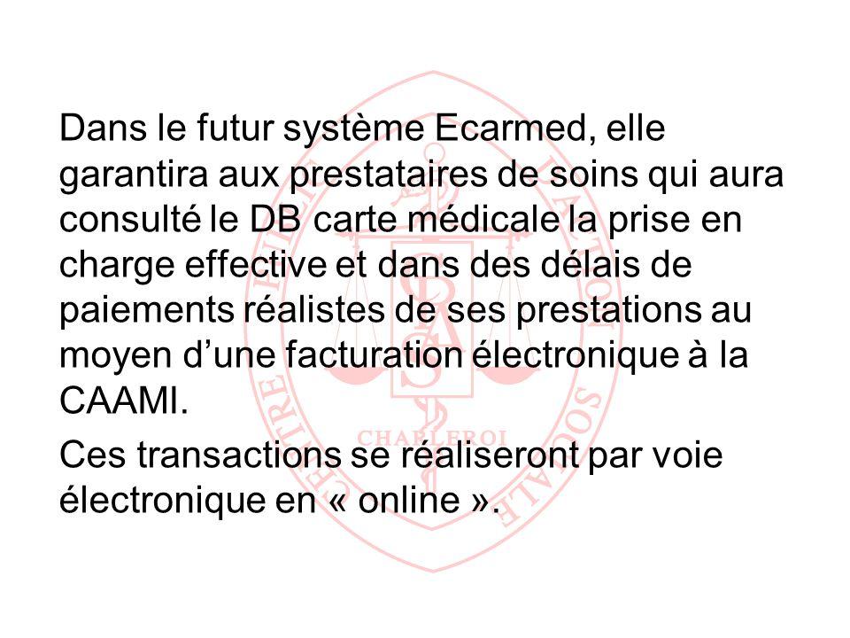 Dans le futur système Ecarmed, elle garantira aux prestataires de soins qui aura consulté le DB carte médicale la prise en charge effective et dans de