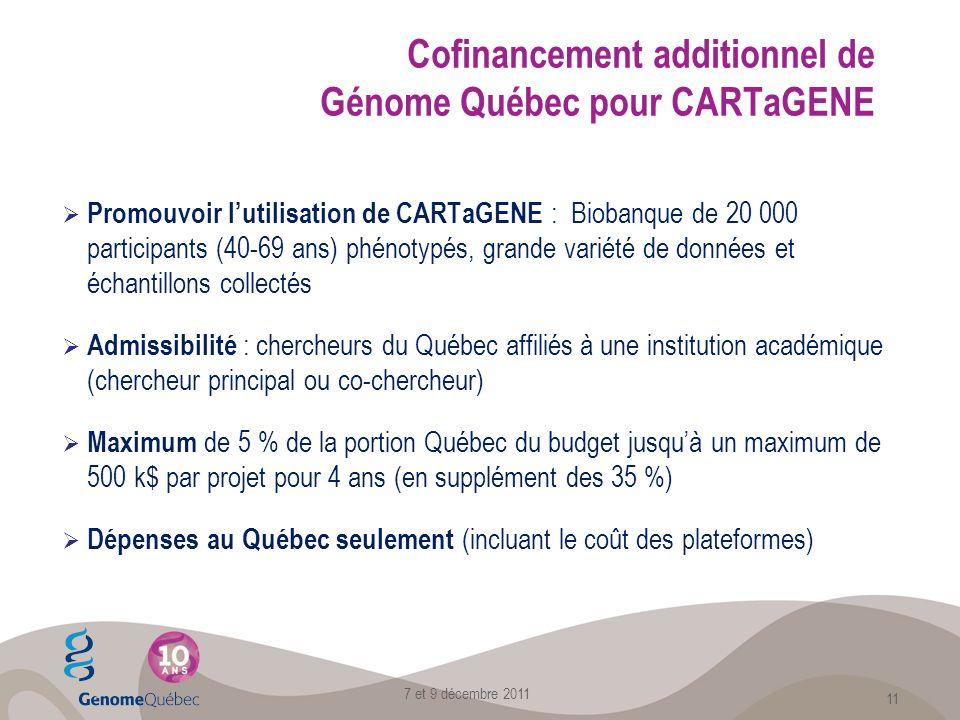 Cofinancement additionnel de Génome Québec pour CARTaGENE Promouvoir lutilisation de CARTaGENE : Biobanque de 20 000 participants (40-69 ans) phénotypés, grande variété de données et échantillons collectés Admissibilité : chercheurs du Québec affiliés à une institution académique (chercheur principal ou co-chercheur) Maximum de 5 % de la portion Québec du budget jusquà un maximum de 500 k$ par projet pour 4 ans (en supplément des 35 %) Dépenses au Québec seulement (incluant le coût des plateformes) 7 et 9 décembre 2011 11