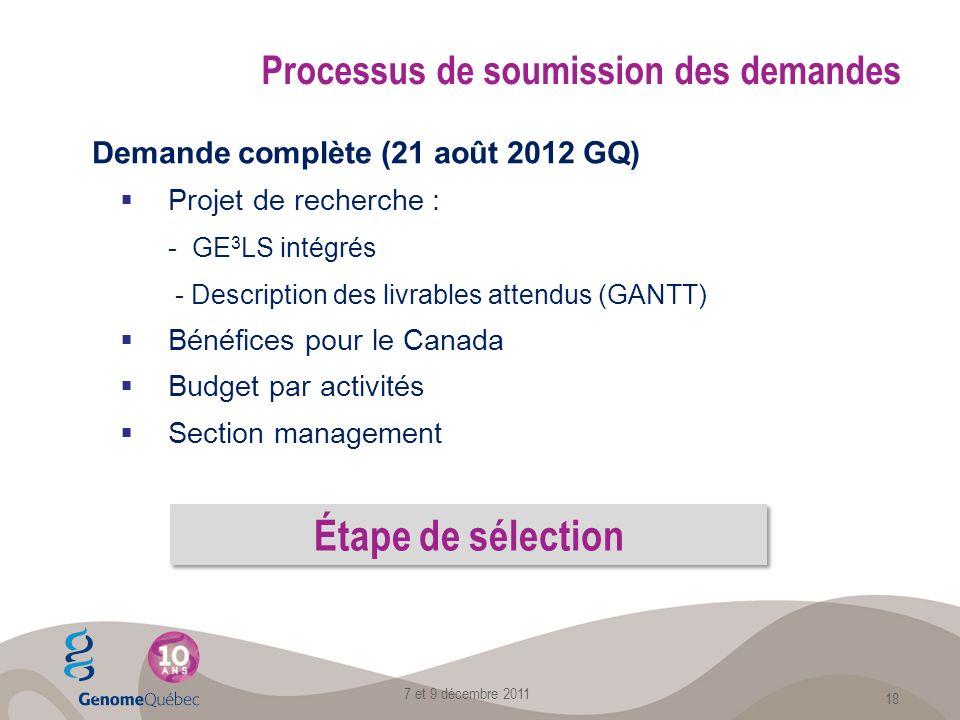 Demande complète (21 août 2012 GQ) Projet de recherche : - GE 3 LS intégrés - Description des livrables attendus (GANTT) Bénéfices pour le Canada Budget par activités Section management Processus de soumission des demandes 7 et 9 décembre 2011 18 Étape de sélection
