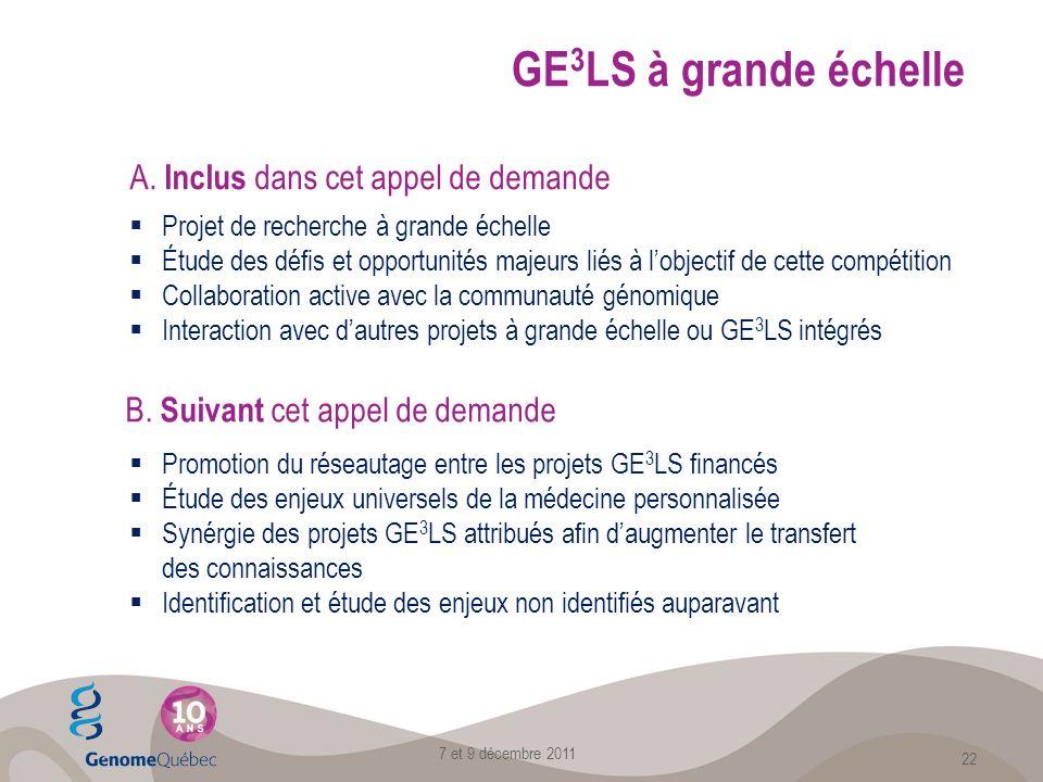 GE 3 LS à grande échelle Projet de recherche à grande échelle Étude des défis et opportunités majeurs liés à lobjectif de cette compétition Collaboration active avec la communauté génomique Interaction avec dautres projets à grande échelle ou GE 3 LS intégrés A.