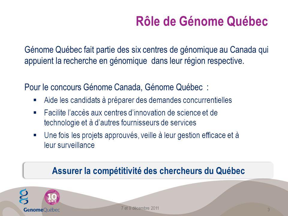 Rôle de Génome Québec Génome Québec fait partie des six centres de génomique au Canada qui appuient la recherche en génomique dans leur région respective.