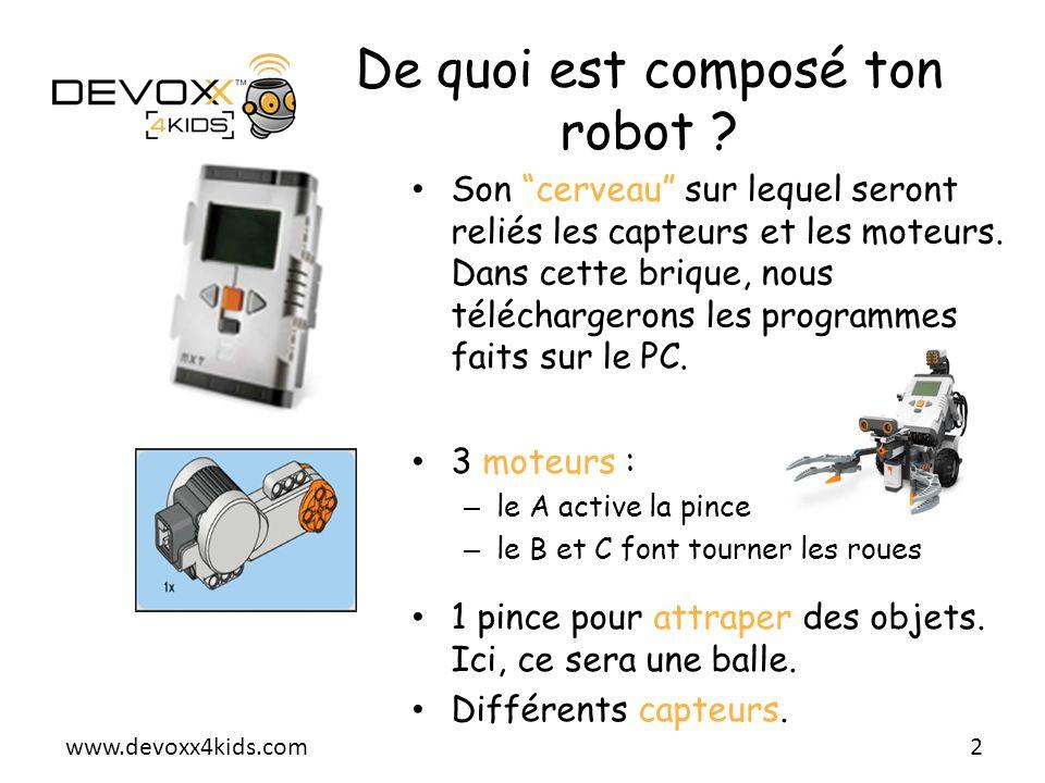 www.devoxx4kids.com Son cerveau sur lequel seront reliés les capteurs et les moteurs. Dans cette brique, nous téléchargerons les programmes faits sur