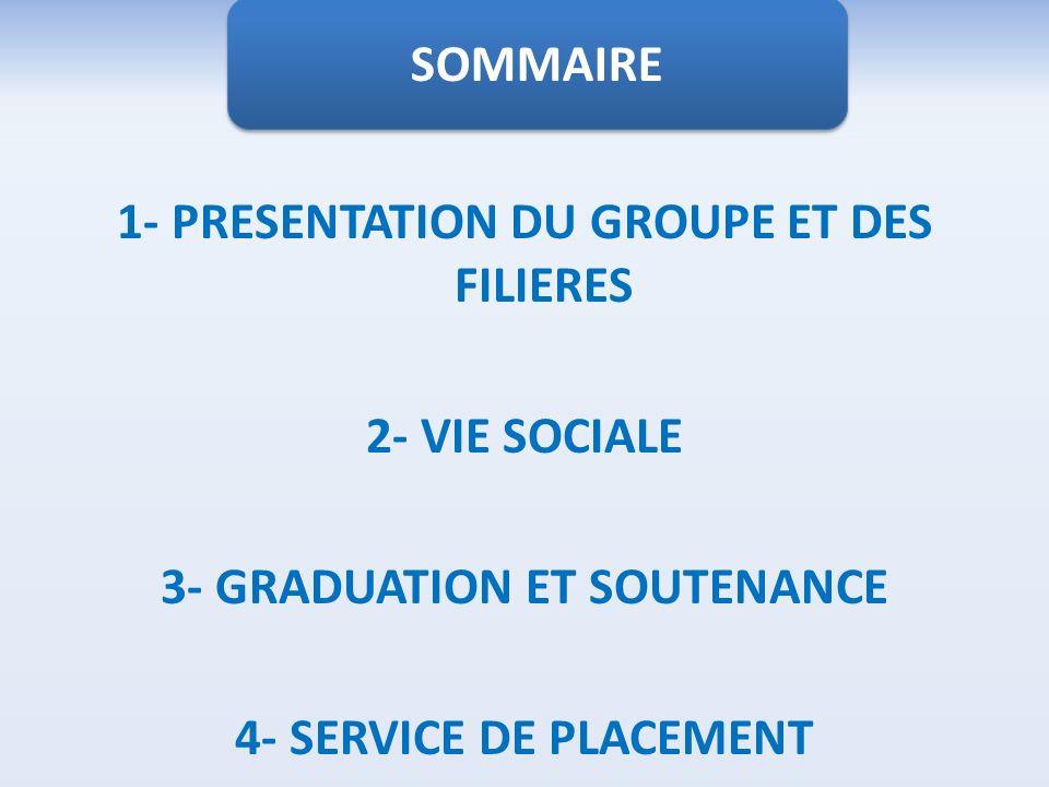 1- PRESENTATION DU GROUPE ET DES FILIERES 2- VIE SOCIALE 3- GRADUATION ET SOUTENANCE 4- SERVICE DE PLACEMENT SOMMAIRE