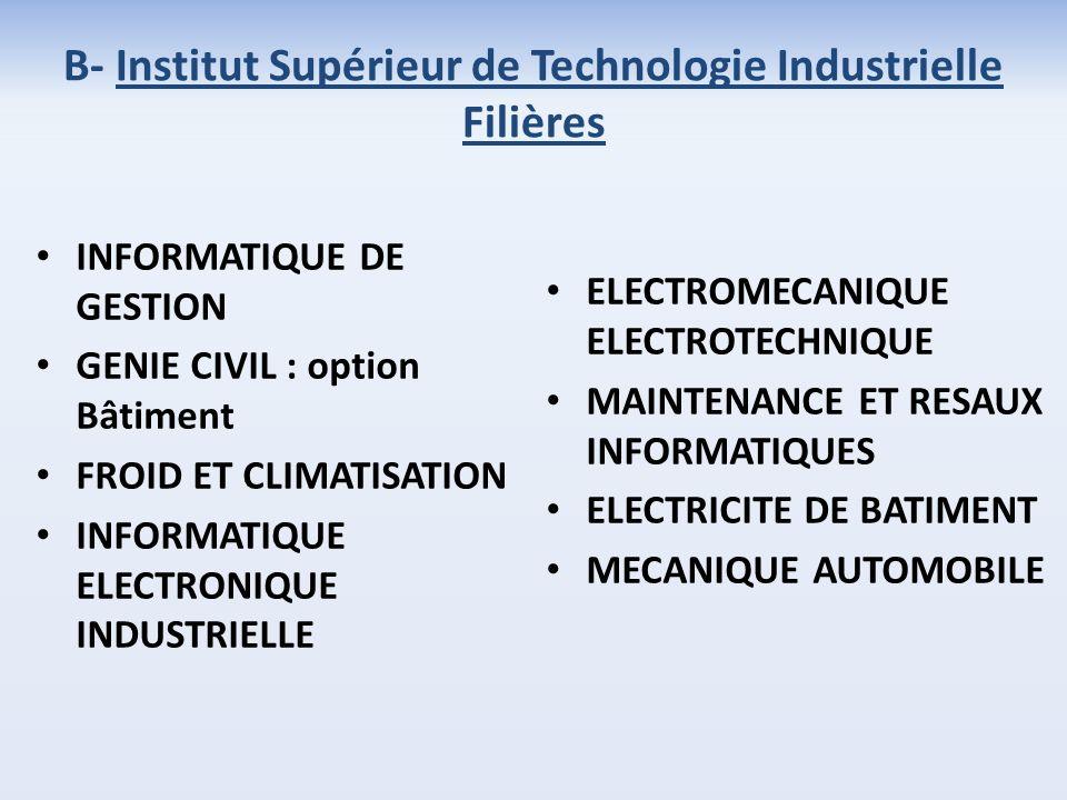 INFORMATIQUE DE GESTION GENIE CIVIL : option Bâtiment FROID ET CLIMATISATION INFORMATIQUE ELECTRONIQUE INDUSTRIELLE ELECTROMECANIQUE ELECTROTECHNIQUE MAINTENANCE ET RESAUX INFORMATIQUES ELECTRICITE DE BATIMENT MECANIQUE AUTOMOBILE B- Institut Supérieur de Technologie Industrielle Filières