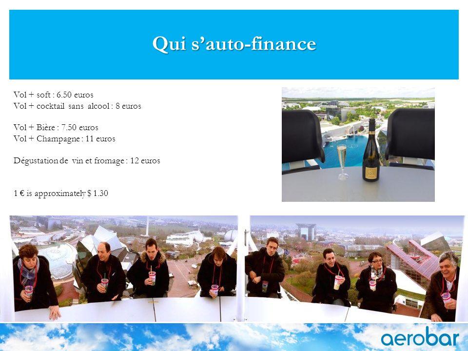 Qui sauto-finance Vol + soft : 6.50 euros Vol + cocktail sans alcool : 8 euros Vol + Bière : 7.50 euros Vol + Champagne : 11 euros Dégustation de vin