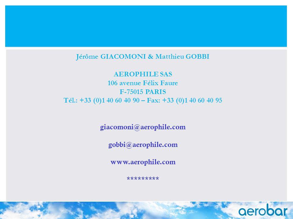 24 juillet 2008 25 Jérôme GIACOMONI & Matthieu GOBBI AEROPHILE SAS 106 avenue Félix Faure F-75015 PARIS Tél.: +33 (0)1 40 60 40 90 – Fax: +33 (0)1 40