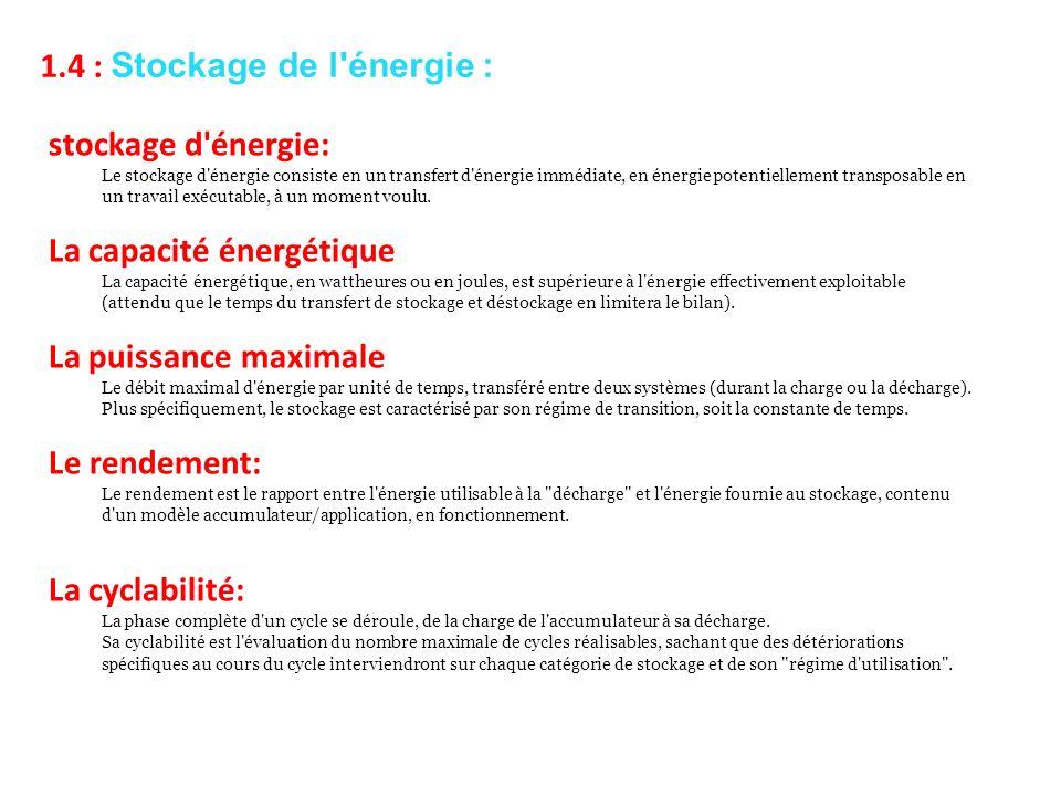 stockage d'énergie: Le stockage d'énergie consiste en un transfert d'énergie immédiate, en énergie potentiellement transposable en un travail exécutab