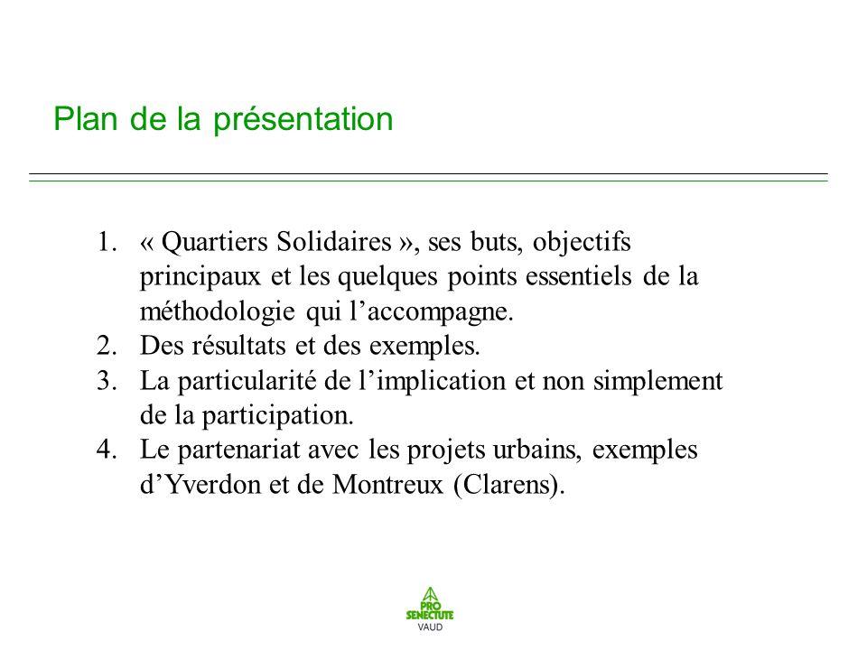 Plan de la présentation 1.« Quartiers Solidaires », ses buts, objectifs principaux et les quelques points essentiels de la méthodologie qui laccompagne.