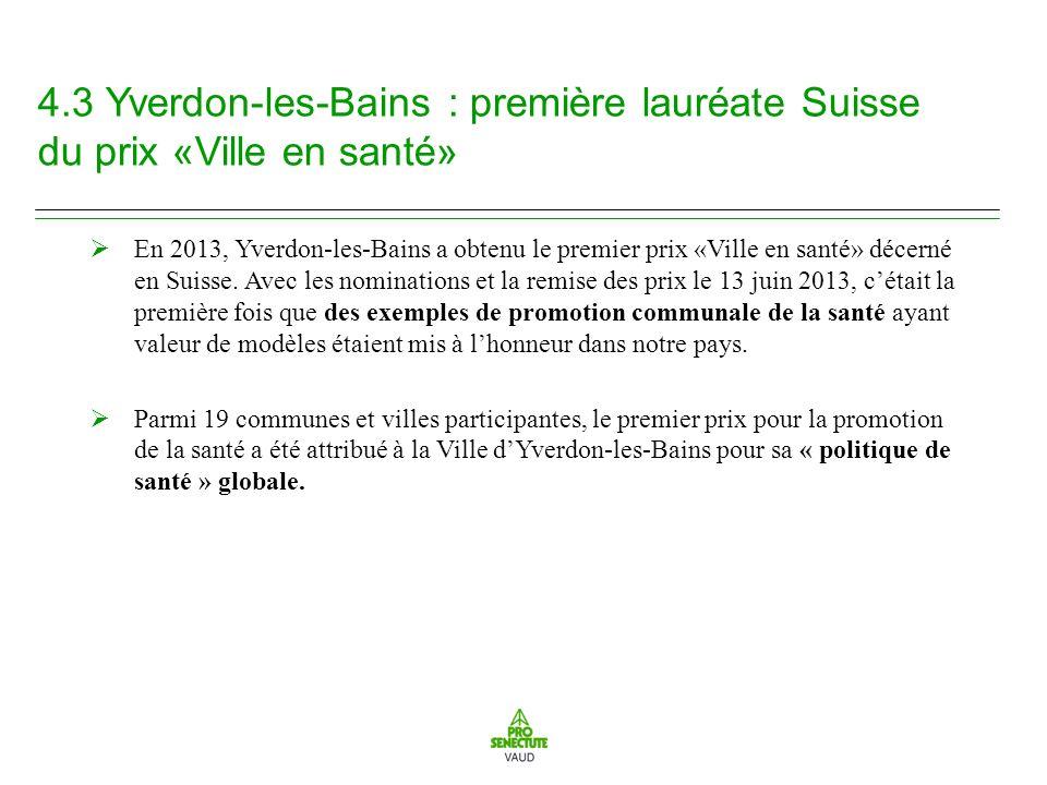 4.3 Yverdon-les-Bains : première lauréate Suisse du prix «Ville en santé» En 2013, Yverdon-les-Bains a obtenu le premier prix «Ville en santé» décerné en Suisse.