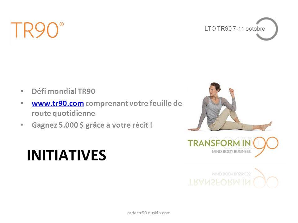 LTO TR90 7-11 octobre INITIATIVES Défi mondial TR90 www.tr90.com comprenant votre feuille de route quotidienne www.tr90.com Gagnez 5.000 $ grâce à vot