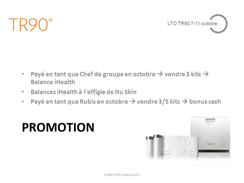 LTO TR90 7-11 octobre PROMOTION Payé en tant que Chef de groupe en octobre vendre 3 kits Balance iHealth Balances iHealth à l'effigie de Nu Skin Payé