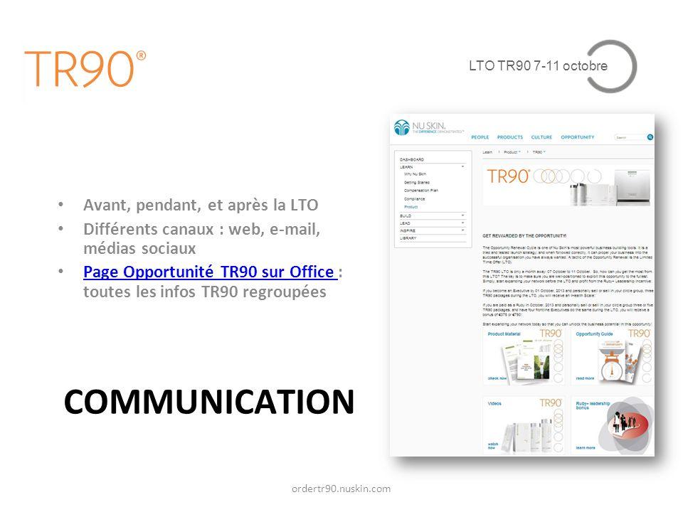 LTO TR90 7-11 octobre COMMUNICATION Avant, pendant, et après la LTO Différents canaux : web, e-mail, médias sociaux Page Opportunité TR90 sur Office : toutes les infos TR90 regroupées Page Opportunité TR90 sur Office ordertr90.nuskin.com