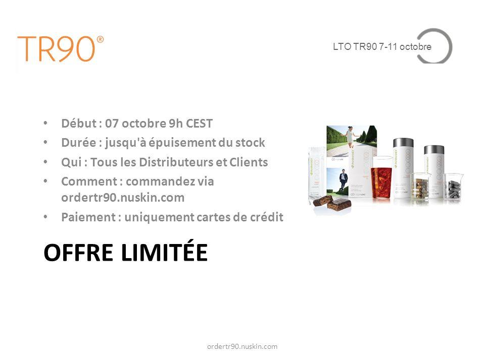 LTO TR90 7-11 octobre PRODUIT Stock de produits pour 90 jours Délai de livraison : dans les 3 à 4 semaines Maximum 5 Kits par ID Prix (TVAC) : – FR : 844 – BE : 848 – LU : 824 – CH : 1100 CHF ordertr90.nuskin.com