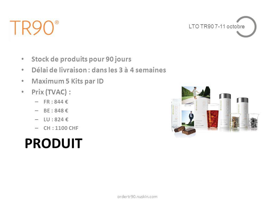 LTO TR90 7-11 octobre PRODUIT Stock de produits pour 90 jours Délai de livraison : dans les 3 à 4 semaines Maximum 5 Kits par ID Prix (TVAC) : – FR :
