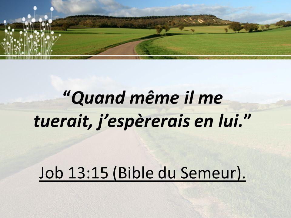Quand même il me tuerait, jespèrerais en lui. Job 13:15 (Bible du Semeur).