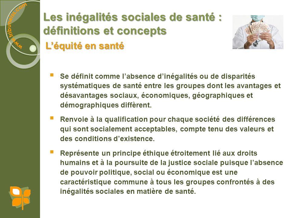 Les inégalités sociales de santé : définitions et concepts Se définit comme labsence dinégalités ou de disparités systématiques de santé entre les gro